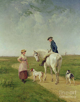 Painting - Milkmaid Talking To A Cavalier by Heywood Hardy