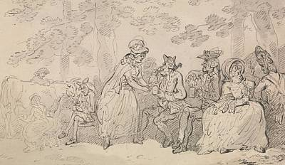 Drawing - Milkmaids And Gentlemen In St. James's Park by Thomas Rowlandson