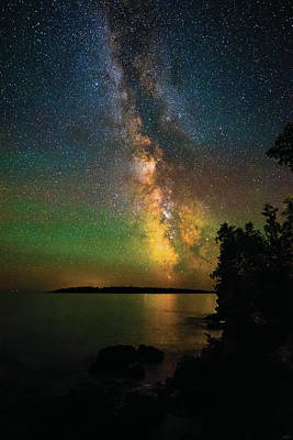 Art Print featuring the photograph Milky Way And Northern Lights Over Isle Royale by Owen Weber