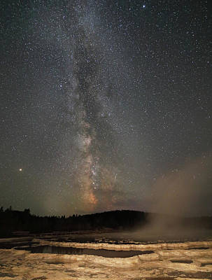 Photograph - Milky Way Over Great Fountain Geyser by Jean Clark