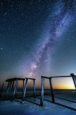Photograph - Milky Way Over Gulf Pier by Kurt Lischka