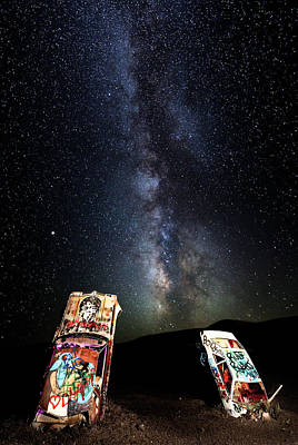 Photograph - Milky Way Over Mojave Desert Graffiti 1 by James Sage