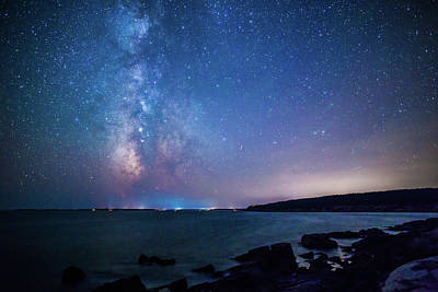 Photograph - Milky Way Over Mount Desert Island At Otter Point by Stefan Mazzola
