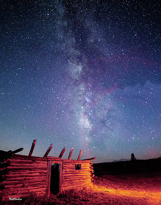 Photograph - Milky Way Spilling Down On Cabin by Tim Kathka