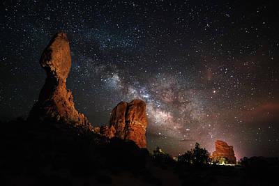 Photograph - Milky Way Suspension At Balanced Rock by Mike Berenson / Colorado Captures