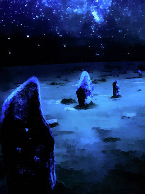 Painting - Milkyway Over The Hurlers Stone Circle by Menega Sabidussi