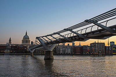 Photograph - Millennium Bridge At Sunrise Thames River London Uk United Kingdom by Toby McGuire