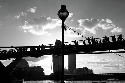 Curated Beach Towels - Millennium Bridge Silhouette, London  by Aidan Moran