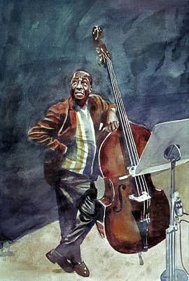 Jazz Painting Royalty Free Images - Milt Hinton Here Swings The Judge Royalty-Free Image by David Lloyd Glover