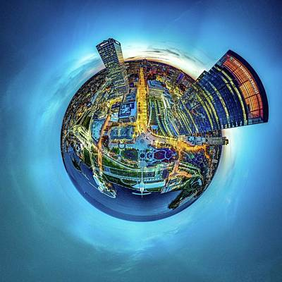 Art Print featuring the photograph Milwaukee At Dusk Little Planet by Randy Scherkenbach