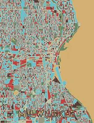 Popular Rustic Neutral Tones - Milwaukee Map Retro 3 by Bekim M
