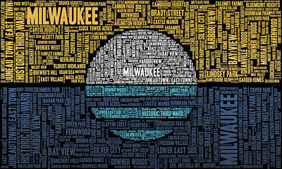 Vintage Baseball Players - Milwaukee Neighborhood Word Cloud by Scott Norris