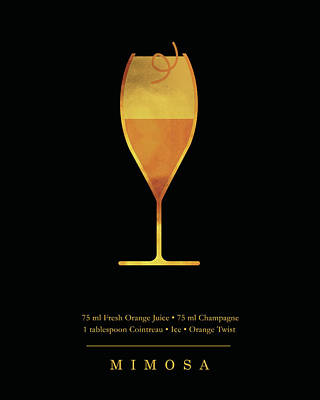 Digital Art - Mimosa - Cocktail - Classic Cocktails Series - Black And Gold - Modern, Minimal Decor by Studio Grafiikka