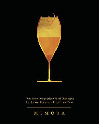Digital Art - Mimosa - Cocktail - Classic Cocktails Series - Black and Gold - Modern, Minimal Decor by Studio Grafiikka