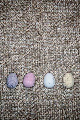 Photograph - Mini Eggs On Hessian  by Helen Northcott