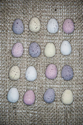 Photograph - Mini Eggs On Hessian IIi by Helen Northcott