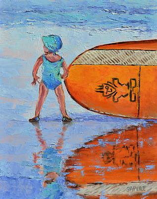 Lynee Sapere Wall Art - Painting - Mini Paddler by Lynee Sapere