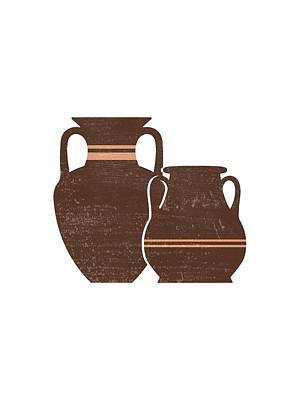 Mixed Media Rights Managed Images - Minimal Abstract Greek Pots 21 - Amphorae - Terracotta Series - Modern, Contemporary Print - Brown Royalty-Free Image by Studio Grafiikka
