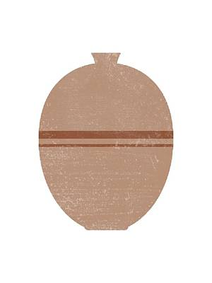 Abstract Mixed Media - Minimal Abstract Greek Pottery 2 - Lebes - Terracotta Series - Modern, Contemporary Print - Beige by Studio Grafiikka