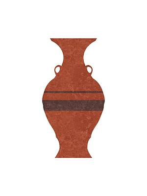 Abstract Mixed Media - Minimal Abstract Greek Vase 11 - Hydria - Terracotta Series - Modern, Contemporary Print - Brown by Studio Grafiikka