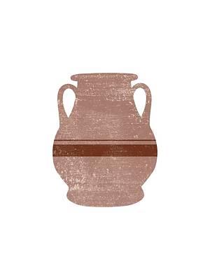 Mixed Media Rights Managed Images - Minimal Abstract Greek Vase 16 - Pelike - Terracotta Series - Modern, Contemporary Print - Tan Royalty-Free Image by Studio Grafiikka