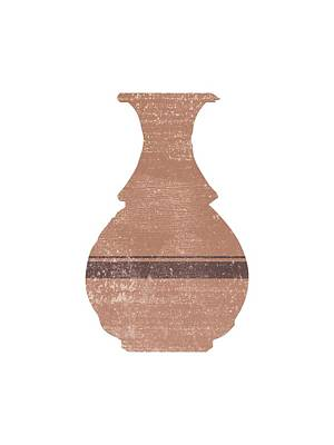 Mixed Media Rights Managed Images - Minimal Abstract Greek Vase 17 - Hydria - Terracotta Series - Modern, Contemporary Print - Tan Royalty-Free Image by Studio Grafiikka