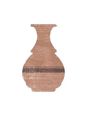 Mixed Media Royalty Free Images - Minimal Abstract Greek Vase 17 - Hydria - Terracotta Series - Modern, Contemporary Print - Tan Royalty-Free Image by Studio Grafiikka
