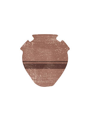 Mixed Media Rights Managed Images - Minimal Abstract Greek Vase 19 - Psykter - Terracotta Series - Modern, Contemporary Print - Brown Royalty-Free Image by Studio Grafiikka