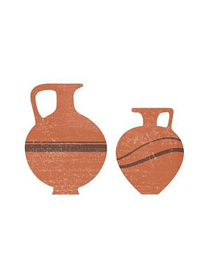 Mixed Media Rights Managed Images - Minimal Abstract Greek Vase 20 - Oinochoe - Terracotta Series - Modern, Contemporary Print - Sienna Royalty-Free Image by Studio Grafiikka