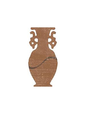 Abstract Mixed Media - Minimal Abstract Greek Vase 8 - Krater - Terracotta Series - Modern, Contemporary Print - Sepia by Studio Grafiikka