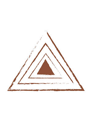 Mixed Media Rights Managed Images - Minimal, Modern, Abstract Triangles - Geometric Mid-century Abstract - Terracotta Art - Brown Royalty-Free Image by Studio Grafiikka