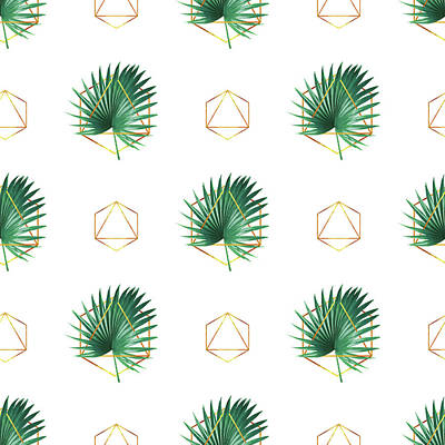 Mixed Media - Minimal Tropical Palm Leaf - Palm And Gold - Gold Geometric Pattern 1 - Modern Tropical Wall Art by Studio Grafiikka