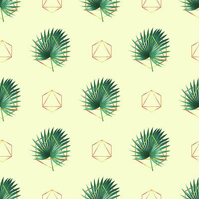 Royalty-Free and Rights-Managed Images - Minimal Tropical Palm Leaf - Palm and Gold - Gold Geometric Pattern 2 - Modern Tropical Wall Art by Studio Grafiikka