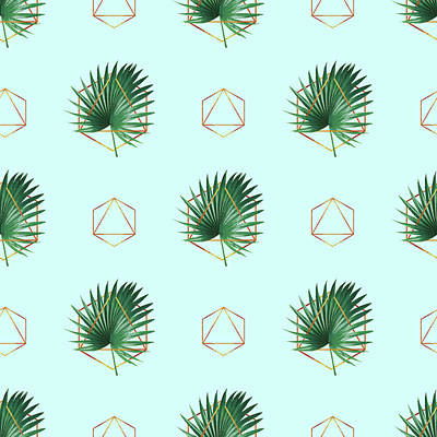 Royalty-Free and Rights-Managed Images - Minimal Tropical Palm Leaf - Palm and Gold - Gold Geometric Pattern 3 - Modern Tropical Wall Art by Studio Grafiikka