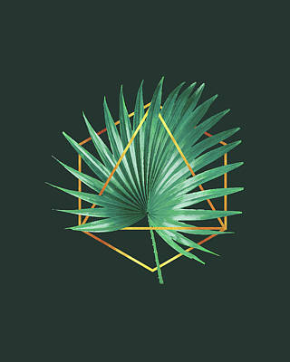 Royalty-Free and Rights-Managed Images - Minimal Tropical Palm Leaf - Palm and Gold - Gold Geometric Shape - Modern Tropical Wall Art - 2 by Studio Grafiikka