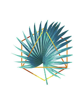 Mixed Media - Minimal Tropical Palm Leaf - Palm And Gold - Gold Geometric Shape - Modern Tropical Wall Art - Blue by Studio Grafiikka