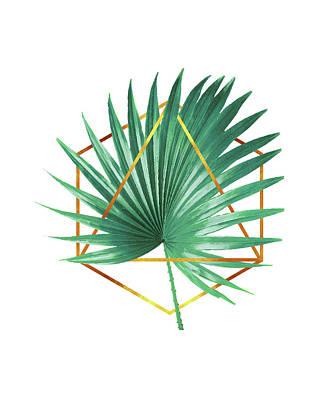 Mixed Media - Minimal Tropical Palm Leaf - Palm And Gold - Gold Geometric Shape - Modern Tropical Wall Art - Green by Studio Grafiikka