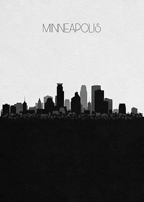 Minnesota Landscape Wall Art - Digital Art - Minneapolis Cityscape Art by Inspirowl Design