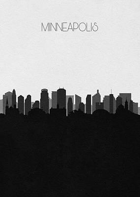 Skyline Drawing - Minneapolis Cityscape Art V2 by Inspirowl Design