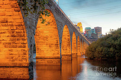 Photograph - Minneapolis Skyline And The Stone Arch Bridge  by Habashy Photography
