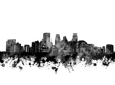 Abstract Skyline Royalty-Free and Rights-Managed Images - Minneapolis Skyline Bw by Bekim M