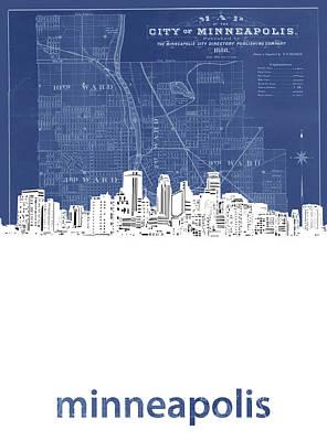 Advertising Archives - Minneapolis Skyline Map Blue by Bekim M