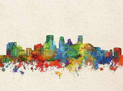 Abstract Skyline Royalty-Free and Rights-Managed Images - Minneapolis Skyline Watercolor by Bekim M