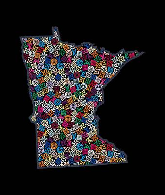 Louis Vuitton Wall Art - Painting - Minnesota Map - 2 by Nikita