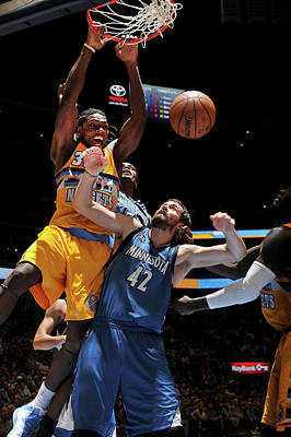 Photograph - Minnesota Timberwolves V Denver Nuggets by Bart Young