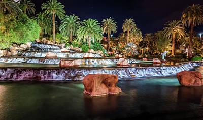 Photograph - Mirage Hotel Casino Volcano Fountain At Night by Alex Grichenko