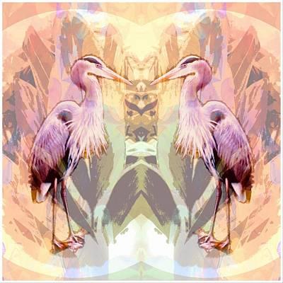 Digital Art - Mirror Image Blue Heron by Don Wright