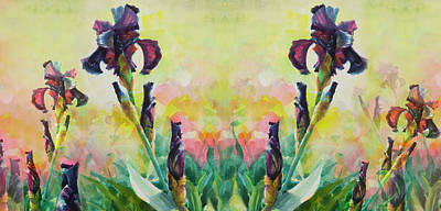 Digital Art Royalty Free Images - Mirrored Purple Iris Royalty-Free Image by Steve Henderson