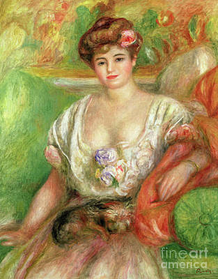 Painting - Misia Sert With A Lap Dog by Pierre Auguste Renoir