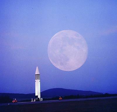 Huntsville Wall Art - Photograph - Missile And Moon At Huntsville Ala - Dr by Andreas Feininger